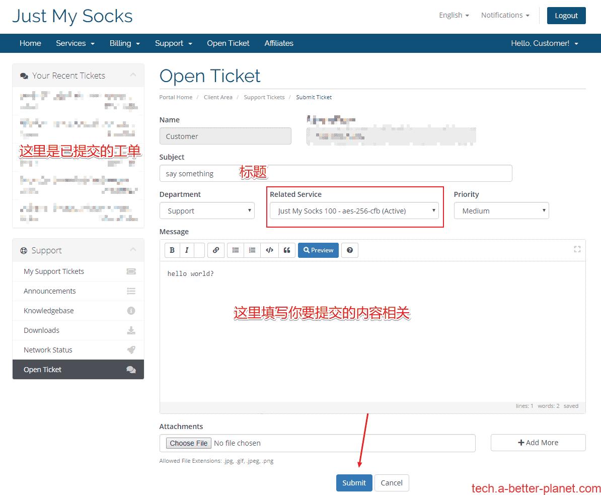 Open-ticket-JustMySocks提交工单