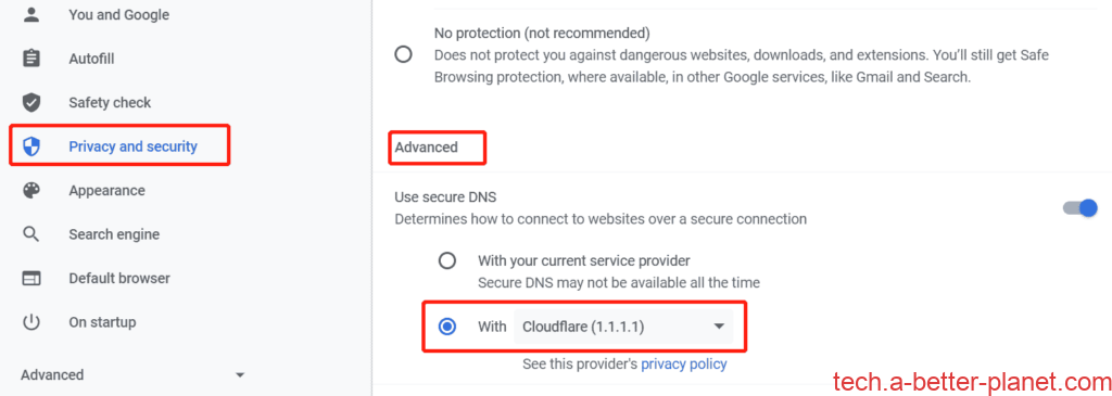 open-dns-polluted-website by Chrome setting